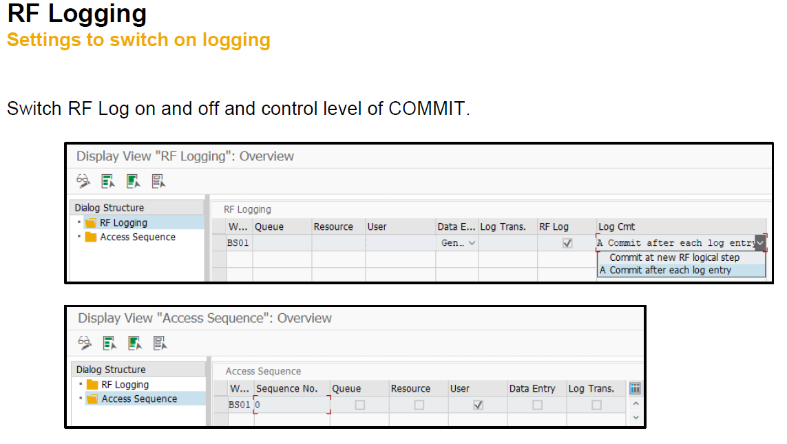 RF Logging - Settings to switch on logging
