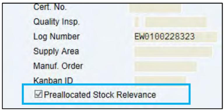 preallocated stock relevance sap ewm