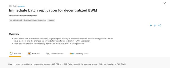SAP EWM Road Map Explorer